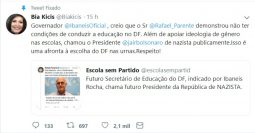 Deputada bolsonarista pede a cabeça de futuro secretário de Ibaneis