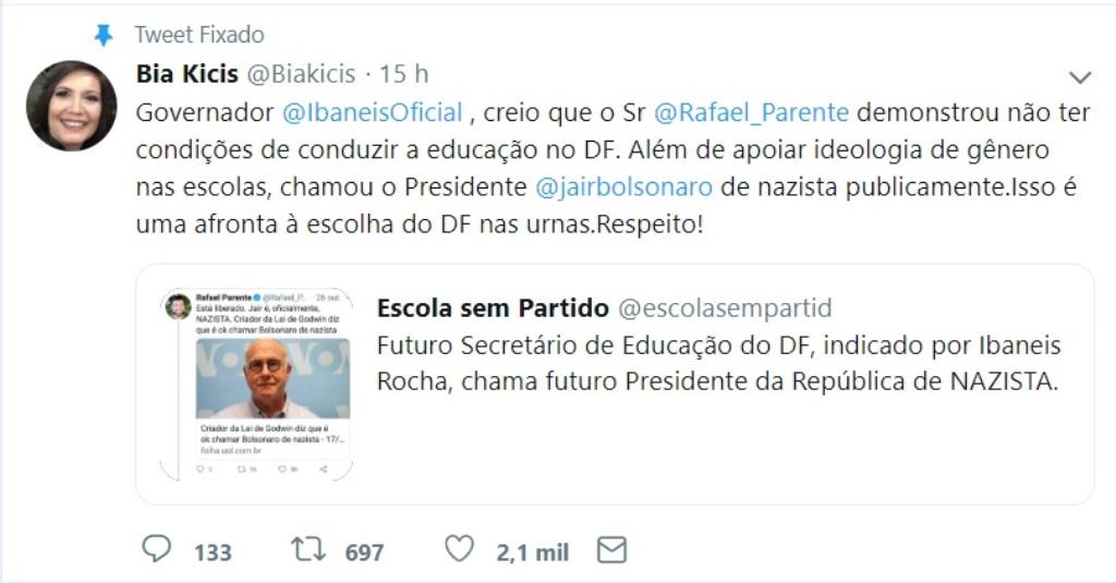 deputada bolsonarista pede cabeça secretario ibaneis - Deputada bolsonarista pede a cabeça de futuro secretário de Ibaneis
