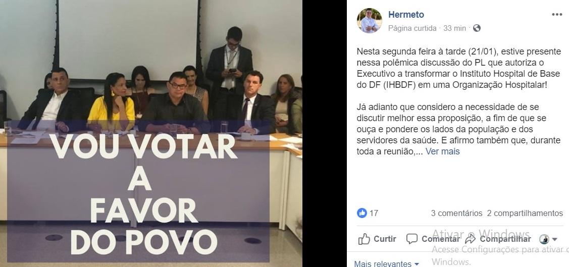 hermeto deputado distrital ihbdf radio corredor facebook - IHBDF: Da base de Ibaneis, deputado anuncia posição