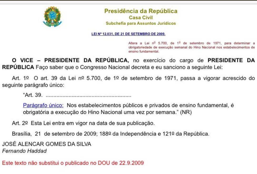 lei hino nacional radio corredor - Lula é o pai do Hino