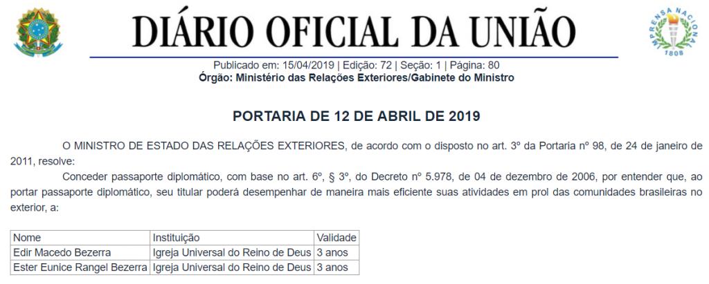 pssaporte diplomático edir macedo radio corredor 1024x411 - Foi renovação de passaporte diplomático